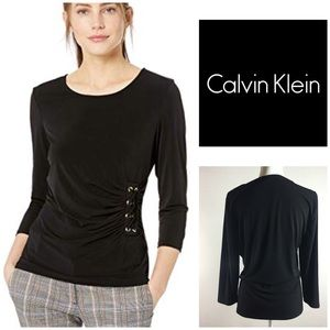 Calvin Klein 3/4 Sleeve Knit Lace up  Black Large